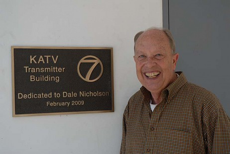 Dale Nicholson beside the dedication plaque for the KATV transmitter building; Little Rock, Arkansas, 2009 © Pryor Center for Arkansas Oral and Visual History, University of Arkansas