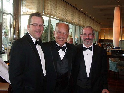 Dale Nicholson (center) with KATV sales manager, Mark Rose (left), and KATV news director, Randy Dixon, at the Mid-America EMMY Awards ceremony; St. Louis, Missouri, 2010 © Pryor Center for Arkansas Oral and Visual History, University of Arkansas