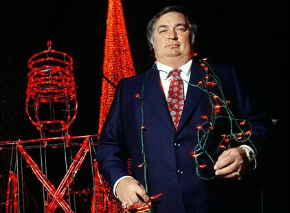 Jennings Osborne in front of Christmas light display at his home in 1992; photo by Rick McFarland © Courtesy of the Osborne family; http://www.facebook.com/pages/Jennings-Osborne/223719354333000