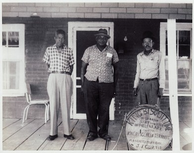 King Biscuit Entertainers: Robert Nighthawk, Houston Stackhouse Sr.,  James Peck Curtis © Pryor Center for Arkansas Oral and Visual History, University of Arkansas