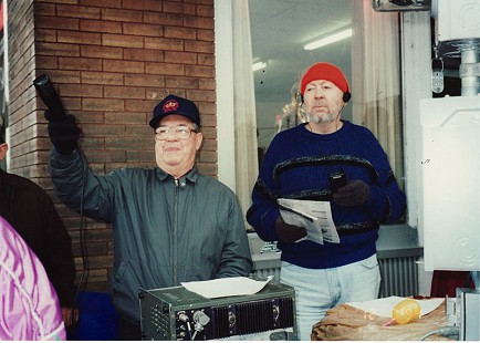 Sonny Payne and Louis Smith broadcasting at the Christmas Parade, 2000 © Pryor Center for Arkansas Oral and Visual History, University of Arkansas