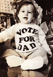 Stanley Reed's daughter, Haley Reed, campaigning for her father when he ran for the Arkansas Senate © Pryor Center for Arkansas Oral and Visual History, University of Arkansas