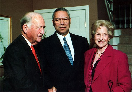 Doyle Rogers, Colin Powell, and Raye Rogers at the President's House, Harding University, 1999 © Pryor Center for Arkansas Oral and Visual History, University of Arkansas