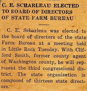 Newspaper clipping announcing the election of Charles Scharlau's father, C. E. Scharlau, to the Arkansas Farm Bureau board of directors © Pryor Center for Arkansas Oral and Visual History, University of Arkansas