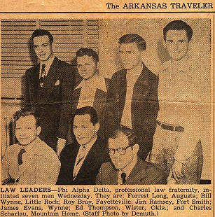 Charles Scharlau (far right) with Phi Alpha Delta initiates at the University of Arkansas School of Law; photo from the <i>Arkansas Traveler</i> &copy; Pryor Center for Arkansas Oral and Visual History, University of Arkansas