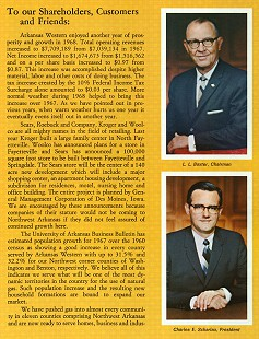 Letter from newly named president Charles Scharlau and chairman L. L. Baxter in the Arkansas Western Gas 1968 annual report © Pryor Center for Arkansas Oral and Visual History, University of Arkansas