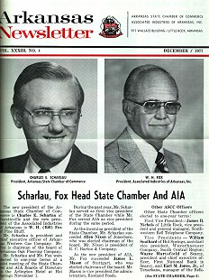 Article in the <i>Arkansas Newsletter</i> about Charles Scharlau's election as president of the Arkansas State Chamber of Commerce, December 1977 &copy; Pryor Center for Arkansas Oral and Visual History, University of Arkansas