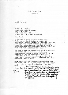 Letter from President Clinton to Charles Scharlau on his retirement from Southwestern Energy Company © Pryor Center for Arkansas Oral and Visual History, University of Arkansas