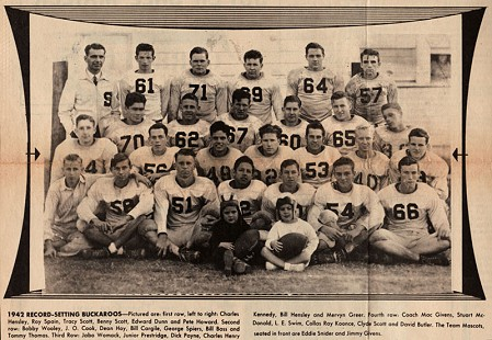 Clyde Scott (back row, second from right) with the 1942 Buckaroos football team; Smackover, Arkansas, 1942 © Pryor Center for Arkansas Oral and Visual History, University of Arkansas