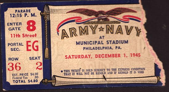 Leslie Hampton's ticket stub to the Army-Navy football game, December 1, 1945 © Pryor Center for Arkansas Oral and Visual History, University of Arkansas
