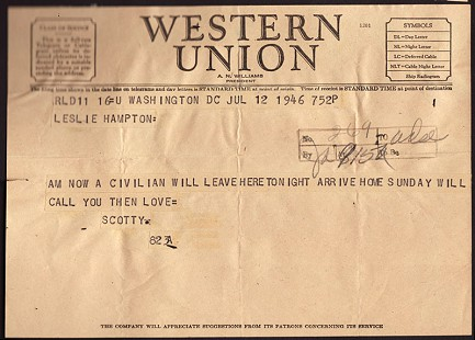 Telegram from Clyde Scott to his future wife, Leslie Hampton, July 12, 1946 © Pryor Center for Arkansas Oral and Visual History, University of Arkansas