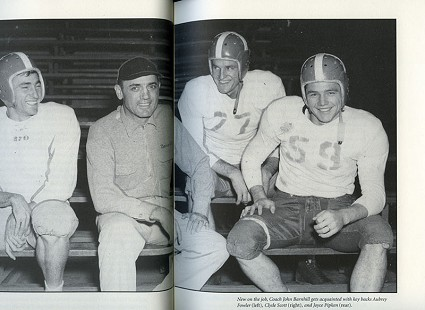 University of Arkansas yearbook photo: Aubrey Fowler, Coach John Barnhill, Joyce Pipken, Clyde Scott © University of Arkansas