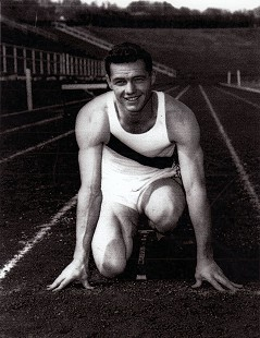 Clyde Scott, photo in track uniform, University of Arkansas, 1948 © Pryor Center for Arkansas Oral and Visual History, University of Arkansas
