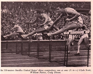 Photo of Clyde Scott, William Porter, and Craig Dixon jumping the last hurdle of the 110-meters hurdles at the 1948 Olympics; from page 96 of the Report of the United States Olympic Committee © Pryor Center for Arkansas Oral and Visual History, University of Arkansas
