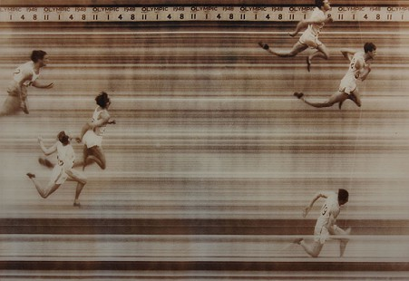 Clyde Scott, William Porter, and Craig Dixon crossing the finish line of the 110-meters hurdles at the 1948 Olympics © Pryor Center for Arkansas Oral and Visual History, University of Arkansas