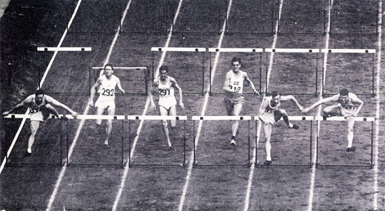 University of Arkansas yearbook photos of Clyde Scott running the 100-meters hurdles at the 1948 Olympics © University of Arkansas