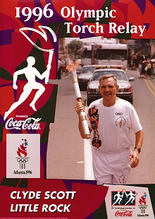 Clyde Scott carrying the torch in the 1996 Olympic Torch Relay © Pryor Center for Arkansas Oral and Visual History, University of Arkansas