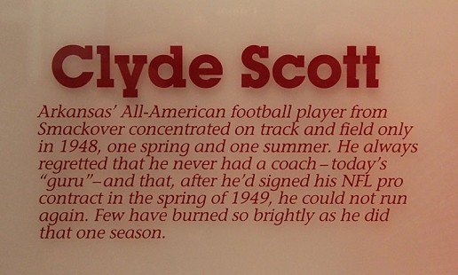 Plaque accompanying the Clyde Scott display at the University of Arkansas, May 2010 © Pryor Center for Arkansas Oral and Visual History, University of Arkansas