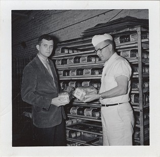 Curtis Shipley (left) with his father, Harry Shipley, at Shipley Baking Company; Fort Smith, Arkansas, ca. 1950s © Pryor Center for Arkansas Oral and Visual History, University of Arkansas