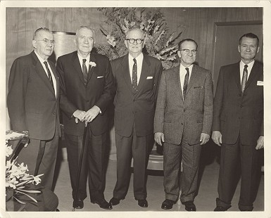 Curtis Shipley's father, Harry Shipley (center) with his brothers (from left) Wilson, Garvin, Ward, and Paul Shipley; ca. 1960 © Pryor Center for Arkansas Oral and Visual History, University of Arkansas