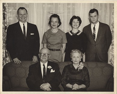 "Curtis Shipley (standing, far right) with his siblings, Harry Shipley, Juda Shipley Holder, and Sally Shipley Bowers, and their parents, Benjamin Harrison ""Harry"" Shipley and Maud Shipley © Pryor Center for Arkansas Oral and Visual History, University of Arkansas"