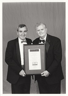Dan Ferritor (left) with Curtis Shipley, who was named 1993 Volunteer of the Year for exceptional service to the University of Arkansas and its programs  © Pryor Center for Arkansas Oral and Visual History, University of Arkansas