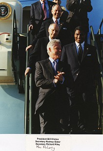 Rodney Slater exiting Air Force One with President Bill Clinton, Richard Riley, and Mack McLarty © Pryor Center for Arkansas Oral and Visual History, University of Arkansas