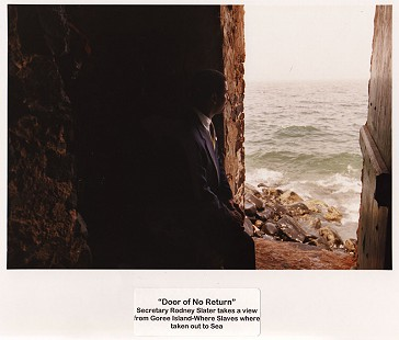 "Rodney Slater sitting at ""Door of No Return"" on Goree Island, Senegal © Pryor Center for Arkansas Oral and Visual History, University of Arkansas"