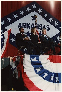 Rodney Slater with Chelsea and Bill Clinton during the presidential campaign, Arkansas © Pryor Center for Arkansas Oral and Visual History, University of Arkansas