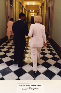 Rodney Slater with First Lady Hillary Rodham Clinton © Pryor Center for Arkansas Oral and Visual History, University of Arkansas