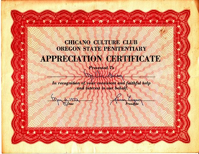 Certificate of Appreciation to Vic Snyder from the Chicano Culture Club at Oregon State Penitentiary © Pryor Center for Arkansas Oral and Visual History, University of Arkansas