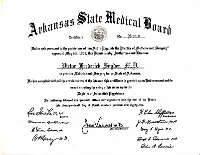 Vic Snyder's Arkansas State Medical Board certificate, 1981 © Pryor Center for Arkansas Oral and Visual History, University of Arkansas