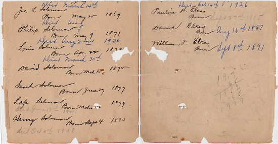 David Solomon family record of births and deaths © Pryor Center for Arkansas Oral and Visual History, University of Arkansas