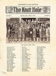 Freshman class role and picture in <i>The Knot Hole</i> newspaper, Helena, Arkansas; April 26, 1929 &copy; Pryor Center for Arkansas Oral and Visual History, University of Arkansas