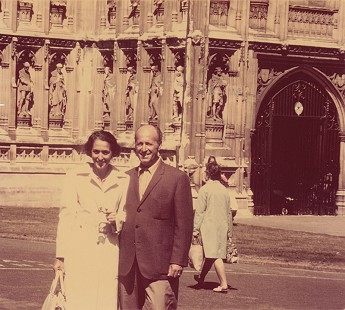 David and Miriam Solomon celebrating his 55th birthday at Winchester Cathedral in England, 1971 © Pryor Center for Arkansas Oral and Visual History, University of Arkansas