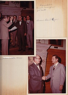 Top image: David Solomon (center) being sworn in as a member of the Arkansas State Highway Commission by Chief Justice Carlton Harris, with Representatives Ernest Cuningham and J. B. Smith and Governor David Pryor, 1975; Bottom image: David Solomon (left) with Governor David Pryor © Pryor Center for Arkansas Oral and Visual History, University of Arkansas