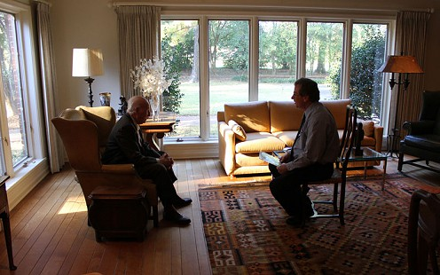 Behind-the-scenes photo from Pryor Center interview with David Solomon; Helena-West Helena, Arkansas, 2012  © Pryor Center for Arkansas Oral and Visual History, University of Arkansas