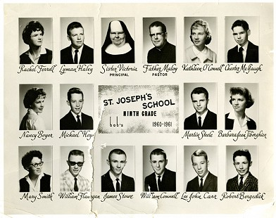 Marty Steele's ninth-grade class, St. Joseph's Catholic School, Fayetteville, Arkansas, 1960–1961 © Pryor Center for Arkansas Oral and Visual History, University of Arkansas