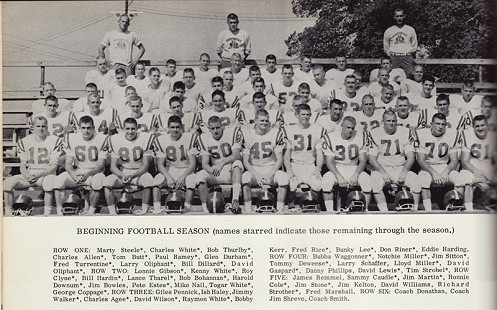 Marty Steele, number 12 (1st row, left), Fayetteville High School football team, 1962 © Pryor Center for Arkansas Oral and Visual History, University of Arkansas