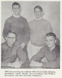 Marty Steele (right), Key Club vice president, with fellow officers; Fayetteville High School yearbook, <i>The Amethyst</i>, 1963 &copy; Pryor Center for Arkansas Oral and Visual History, University of Arkansas