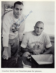 Marty Steele's mentor, Coach Donathon (right); Fayetteville High School yearbook, <i>The Amethyst</i>, 1963                             &copy; Pryor Center for Arkansas Oral and Visual History, University of Arkansas