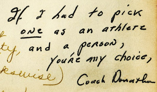 Inscription from Coach Donathon to Marty Steele; Fayetteville High School yearbook, <i>The Amethyst</i>, 1963 &copy; Pryor Center for Arkansas Oral and Visual History, University of Arkansas