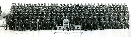 Marty Steele (5th row from top, 11th from left) with the United States Marine Corps, Company N, 2nd Battalion, 2nd Infantry Training Regiment; Camp Pendleton, California, April 29, 1965                            © Pryor Center for Arkansas Oral and Visual History, University of Arkansas