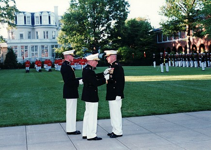 Lieutenant General Marty Steele (right), Change of Command/Retirement Parade, 1999 © Pryor Center for Arkansas Oral and Visual History, University of Arkansas
