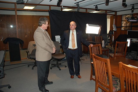"Behind-the-scenes photo from Pryor Center interview with Martin ""Marty"" R. Steele at the Pryor Center; Fayetteville, Arkansas, November 13, 2009 © Pryor Center for Arkansas Oral and Visual History, University of Arkansas"