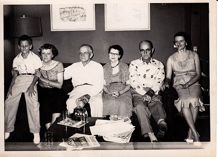 "Dorothy Stuck (from right) with her family, Roy Davis (uncle), Mimi Davis (mother), Floyd Davis (father), Ethel Davis (aunt), Howard ""Buz"" Stuck III (son); Marion Hotel, Little Rock, Arkansas, 1958 © Pryor Center for Arkansas Oral and Visual History, University of Arkansas"