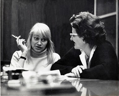 Dorothy Stuck interviewing Mary Travers of the folk trio Peter, Paul and Mary; 1965 © Pryor Center for Arkansas Oral and Visual History, University of Arkansas
