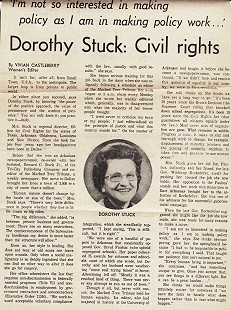 Article about Dorothy Stuck, <i>Dallas Times</i>, 1974 © Pryor Center for Arkansas Oral and Visual History, University of Arkansas