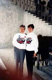 Dorothy Stuck (left) with Nan Snow in Arkansas Traveler shirts at President Bill Clinton's Inauguration, 1993 © Pryor Center for Arkansas Oral and Visual History, University of Arkansas