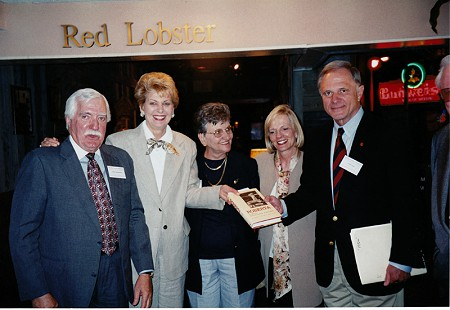 "Dorothy Stuck (center) at book signing for <i>Roberta: A Most Remarkable Fulbright""</i> with (left to right) Parker Westbrook, Patty Fulbright Smith, Dorothy Stuck, unknown, and Senator David Pryor © Pryor Center for Arkansas Oral and Visual History, University of Arkansas"